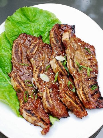 Korean grilled beef short ribs on a plate