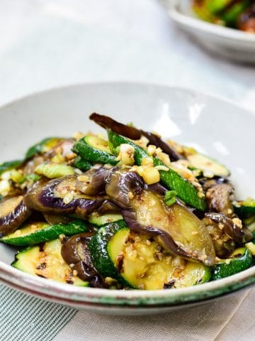 Sliced grilled eggplant and zucchini side dish