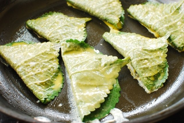 DSC 0717 640x428 - Kkaennip Jeon (Pan-fried Stuffed Perilla Leaves)