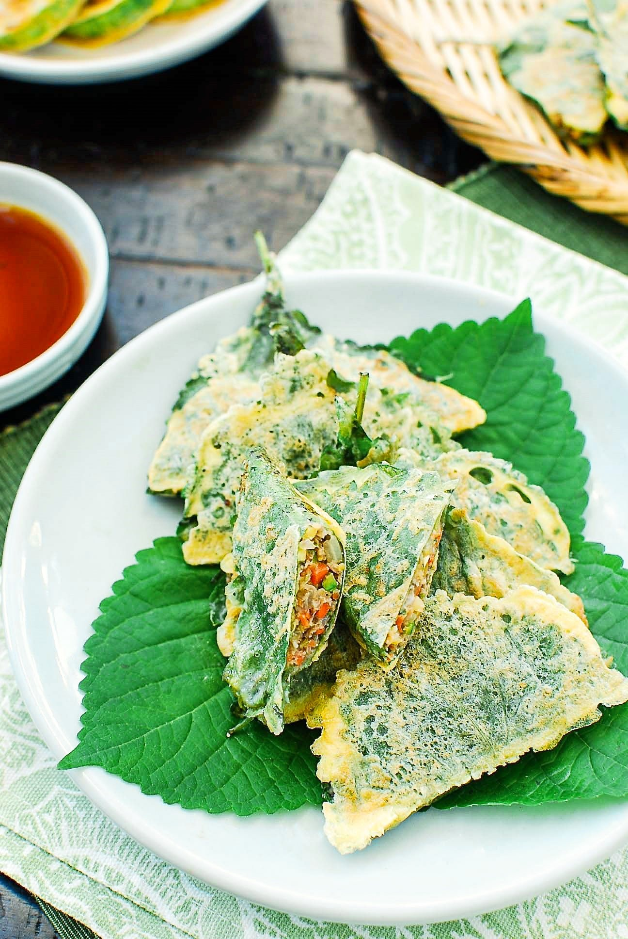 DSC 0848 3 - Kkaennip Jeon (Pan-fried Stuffed Perilla Leaves)