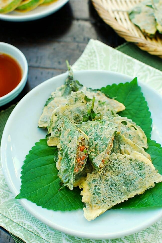kkaennip jeon (stuffed perilla leaf pan-fried in egg batter)