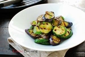 Gaji Hobak Muchim (Grilled Eggplant and Zucchini with Korean Seasoning)