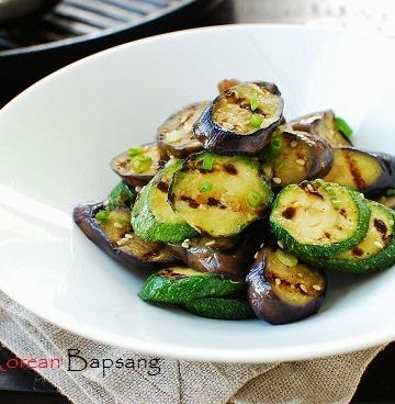 Grilled eggplant and zucchini recipe 360x368 - Gaji Hobak Muchim (Grilled Eggplant and Zucchini with Korean Seasoning)