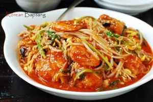 Agujjim (Spicy Braised Monkfish with Soybean Sprouts)
