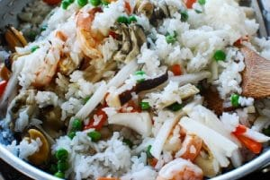 Korean seafood rice bowl