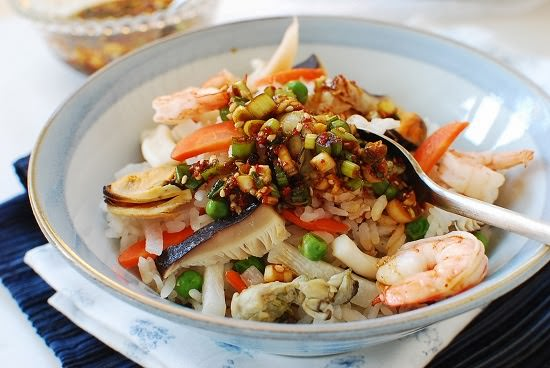 Haemul bap recipe 1 - Haemul Bap (Seafood Rice Bowl)