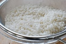 rice being drained