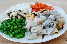 Seafood and vegetables for rice bowl