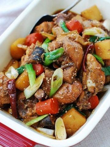 Slow cooker Korean braised chicken (dakjjim) in a casserole dish