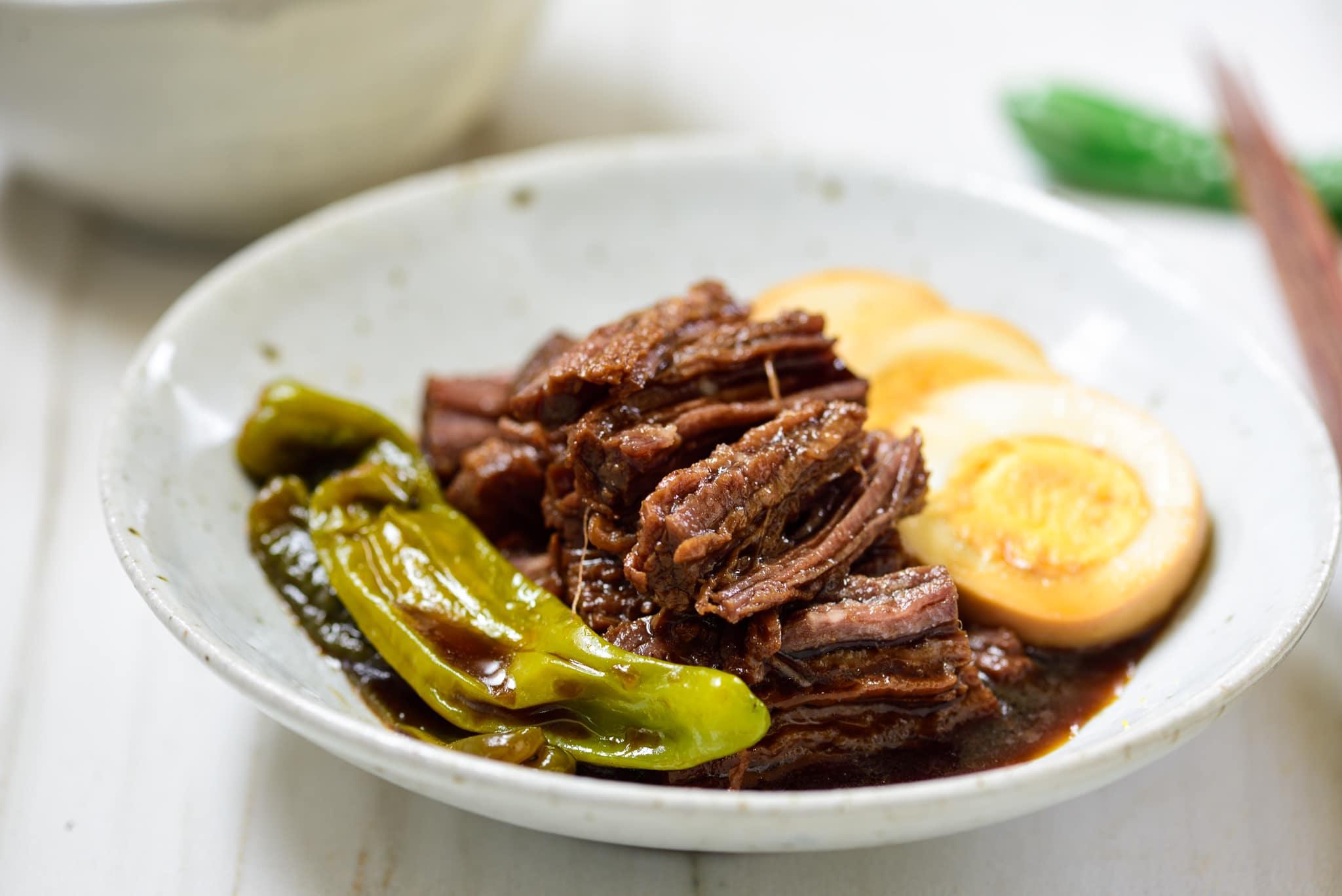 Korean soy braised beef side dish