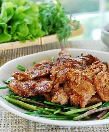 Korean pork marinated in a fermented soybean paste