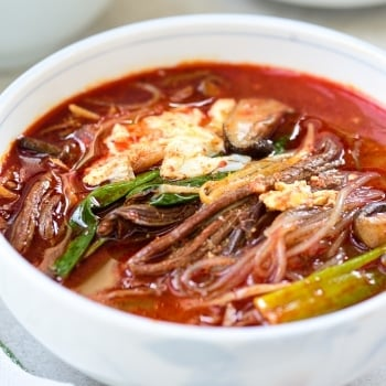 DSC4727 350x350 - Yukgaejang (Spicy Beef Soup with Vegetables)