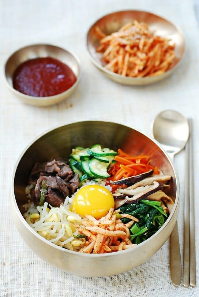 Bibimbap served in a large bowl