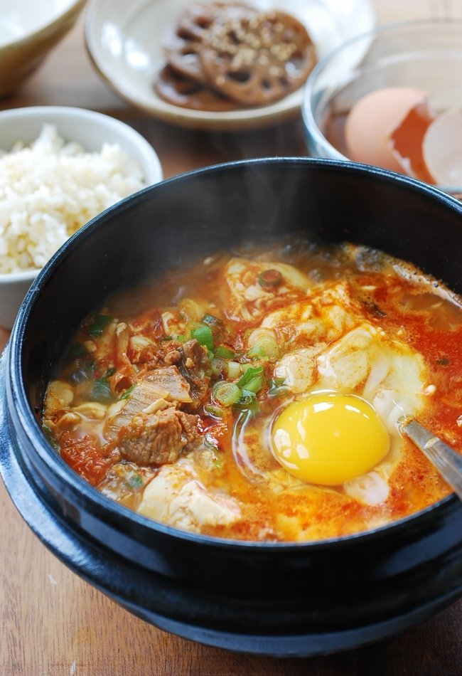 Korean silken tofu stew with a raw egg on top