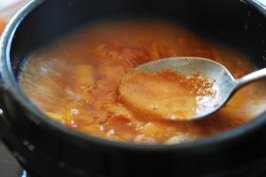 Korean soft tofu stew broth