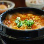 Bubbling hot kimchi soondubu stew