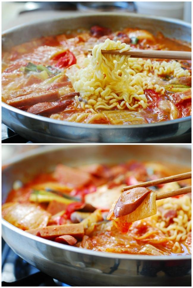Korean Army stew in a pot