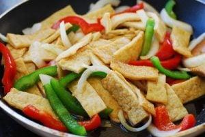 stir frying Korean fish cake