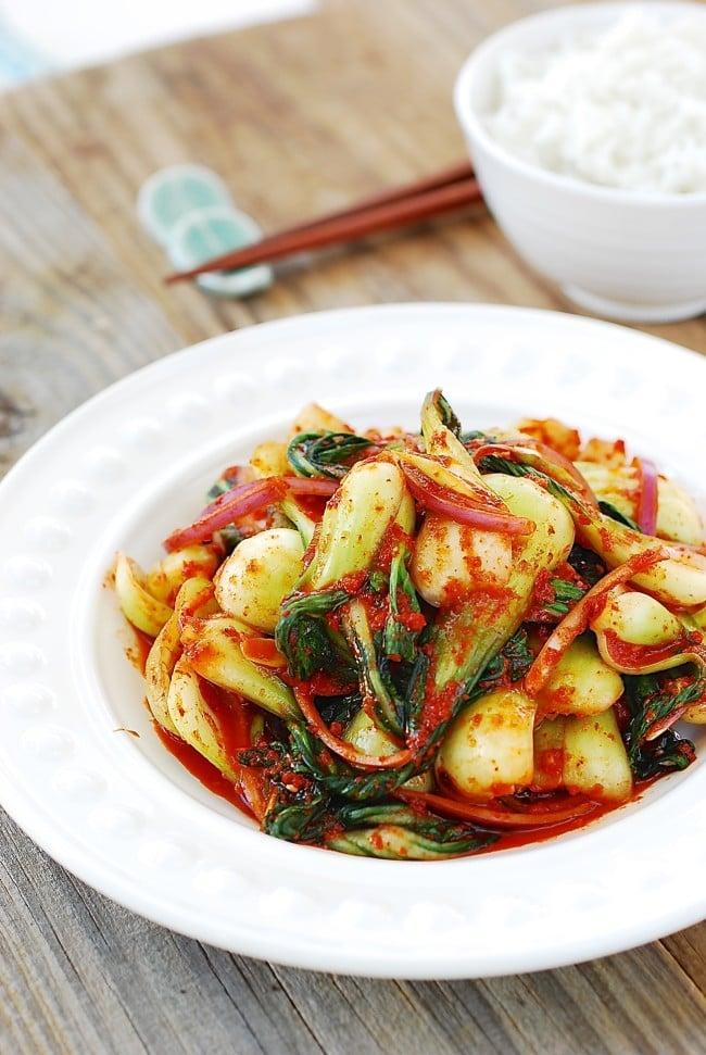 Baby bok choy kimchi salad