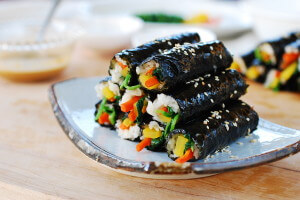 Mini gimbap (or kimbap)