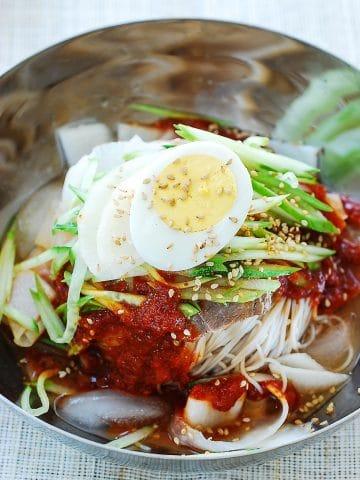 Korean spicy cold noodle dish
