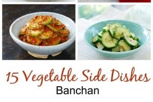 a collage of 6 Korean vegetable side dishes
