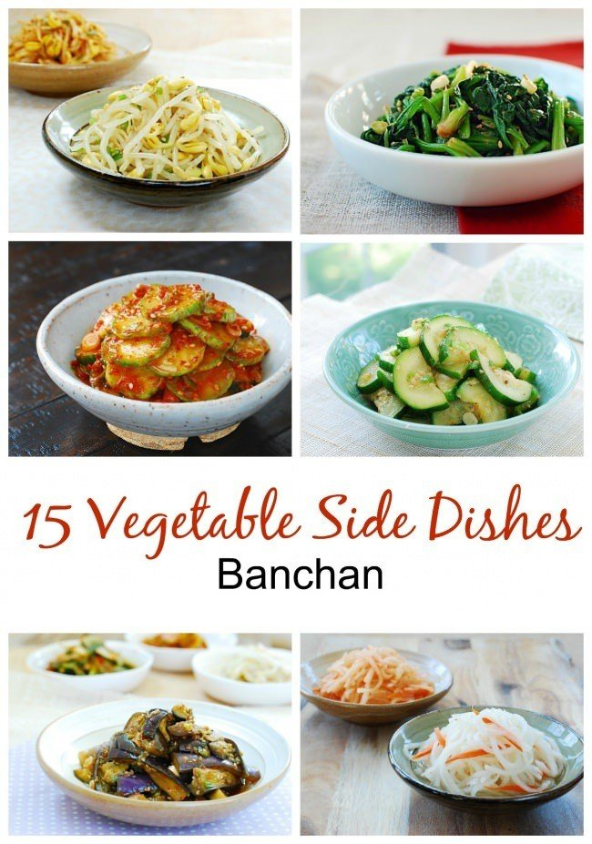 a collage of 6 Korean vegetable side dishes with a title 15 vegetable side dishes