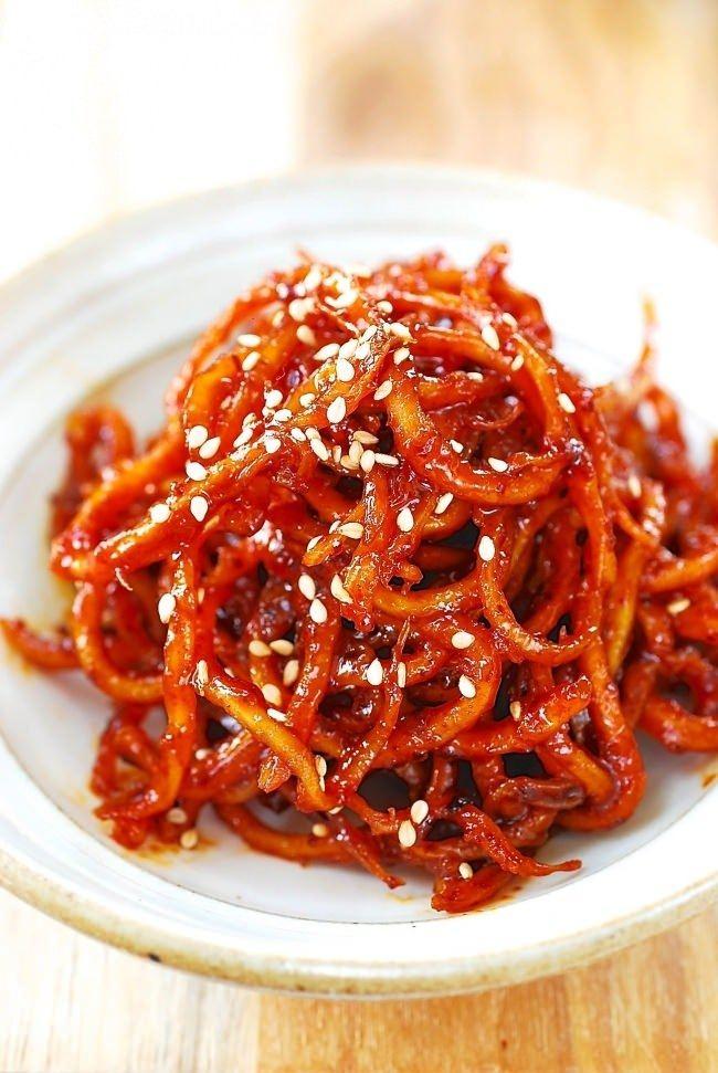 DSC 0480 1 e1475467459617 - Ojingeochae Muchim (Spicy Dried Squid Strips)