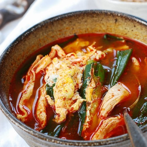 DSC 1843 500x500 - Dakgaejang (Spicy Chicken Soup with Scallions)