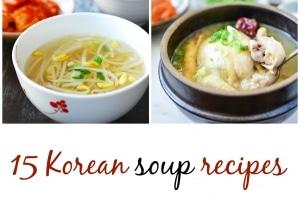 6 Korean soup collage for a collection of 15 Korean soup recipes