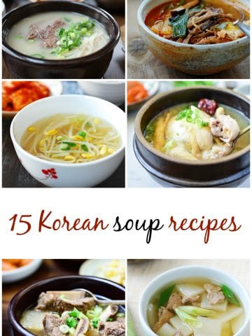 6 Korean soup collage for a collection of 15 Korean soup recipes