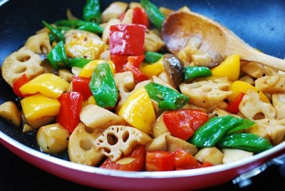 Stir-fried lotus root with peppers and mushrooms
