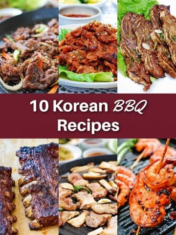 6-photo collage with a text 10 Korean BBQ Recipes
