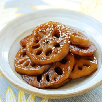 Yeongeun jorim (Sweet soy braised lotus root)