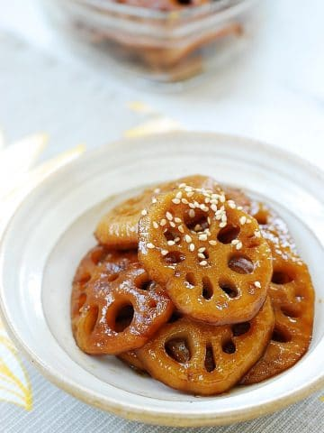 Soy sauce braised lotus root side dish