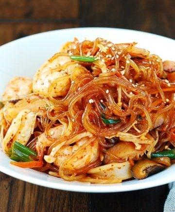Spicy seafood japchae
