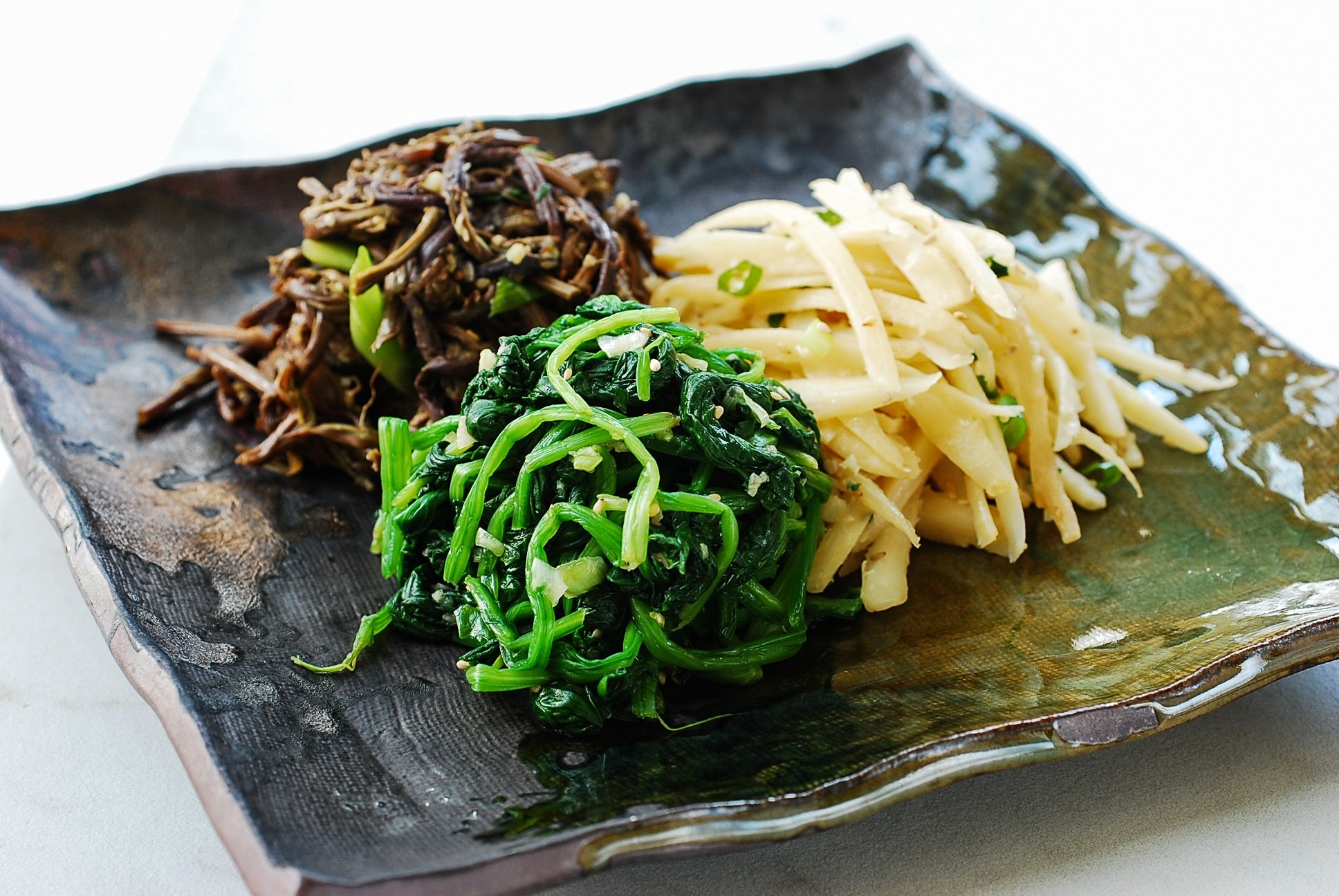 Three different color vegetable side dishes