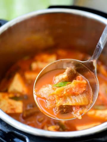 one ladle full of kimchi stew
