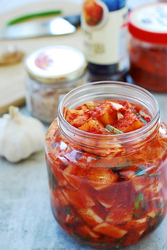 cubed radish kimchi ingredients