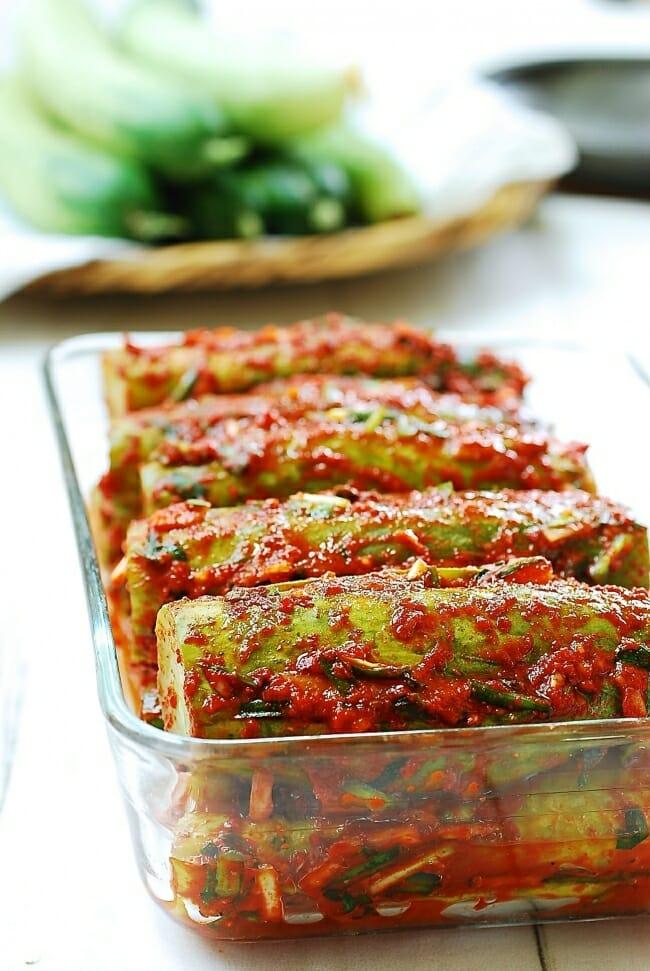 DSC 0012 e1532321088677 - Oi Sobagi (Stuffed Cucumber Kimchi)