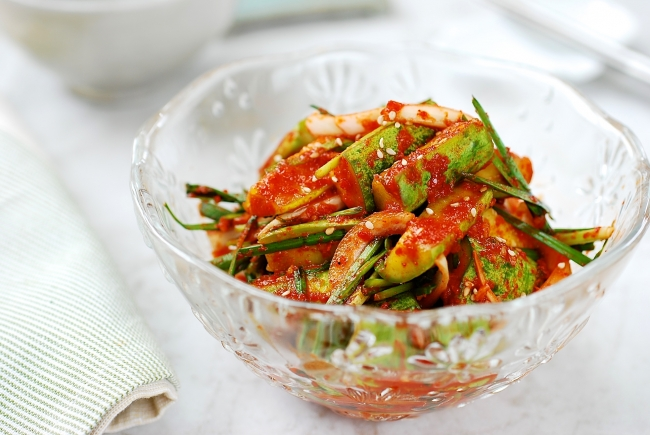 Kimchi made with cucumbers