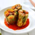 Stuffed cucumber kimchi cut crosswise