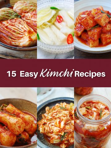 6 photo collage of 15 easy kimchi recipes