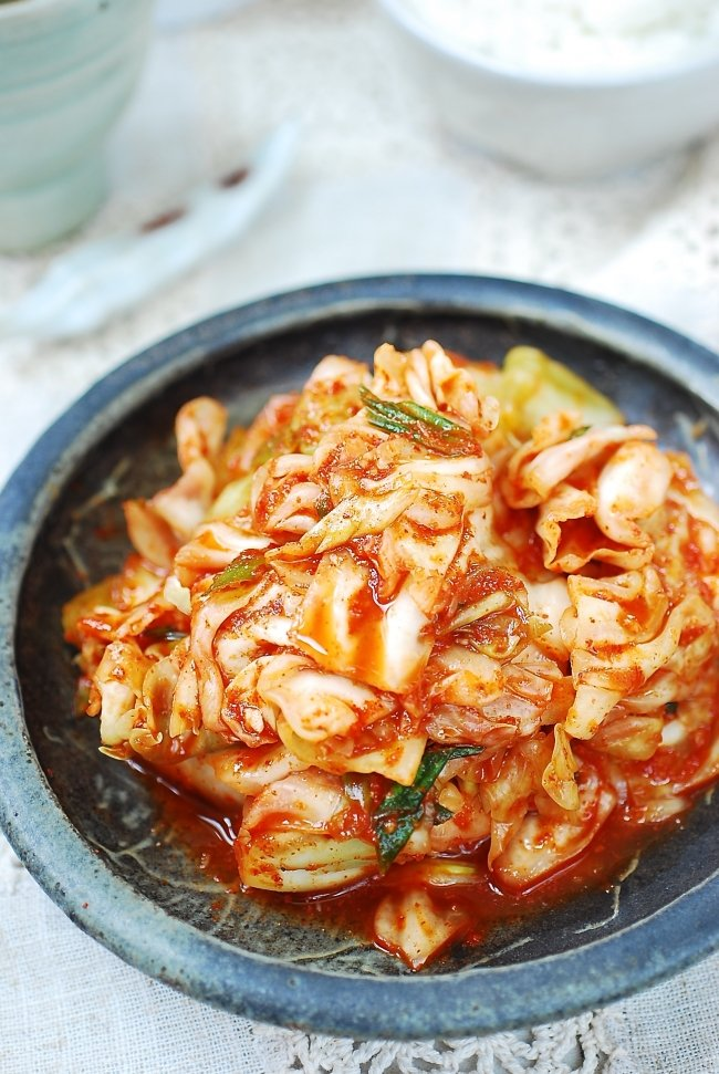 Quick and easy kimchi made with green cabbage