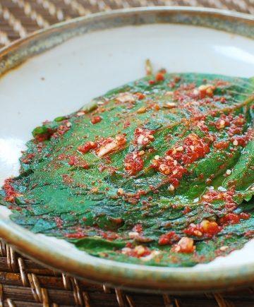 kimchi recipe made with perilla kimchi