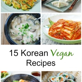 a list of 15 Korean Vegan Recipes