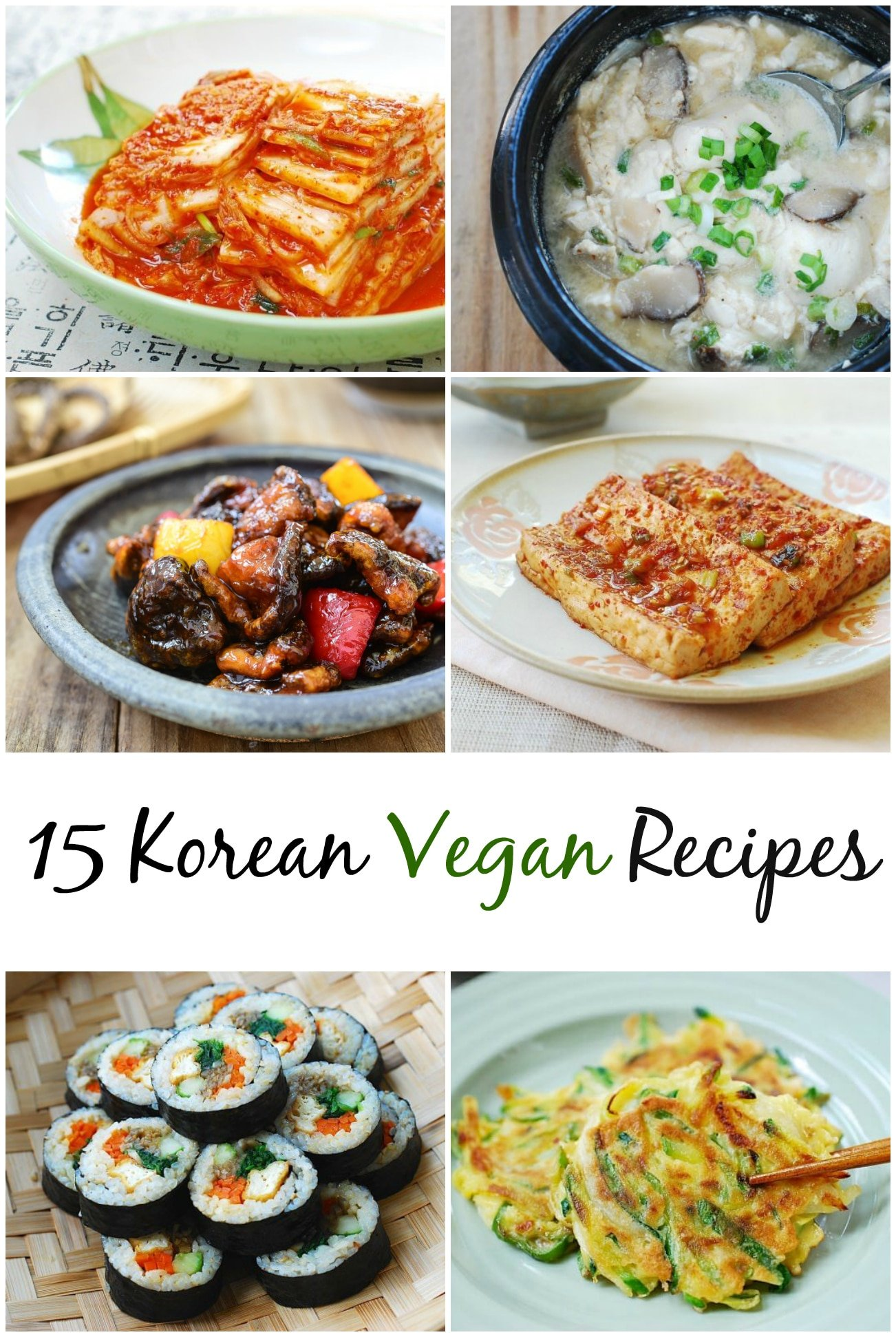 6-photo collage titled 15 Korean vegan recipes