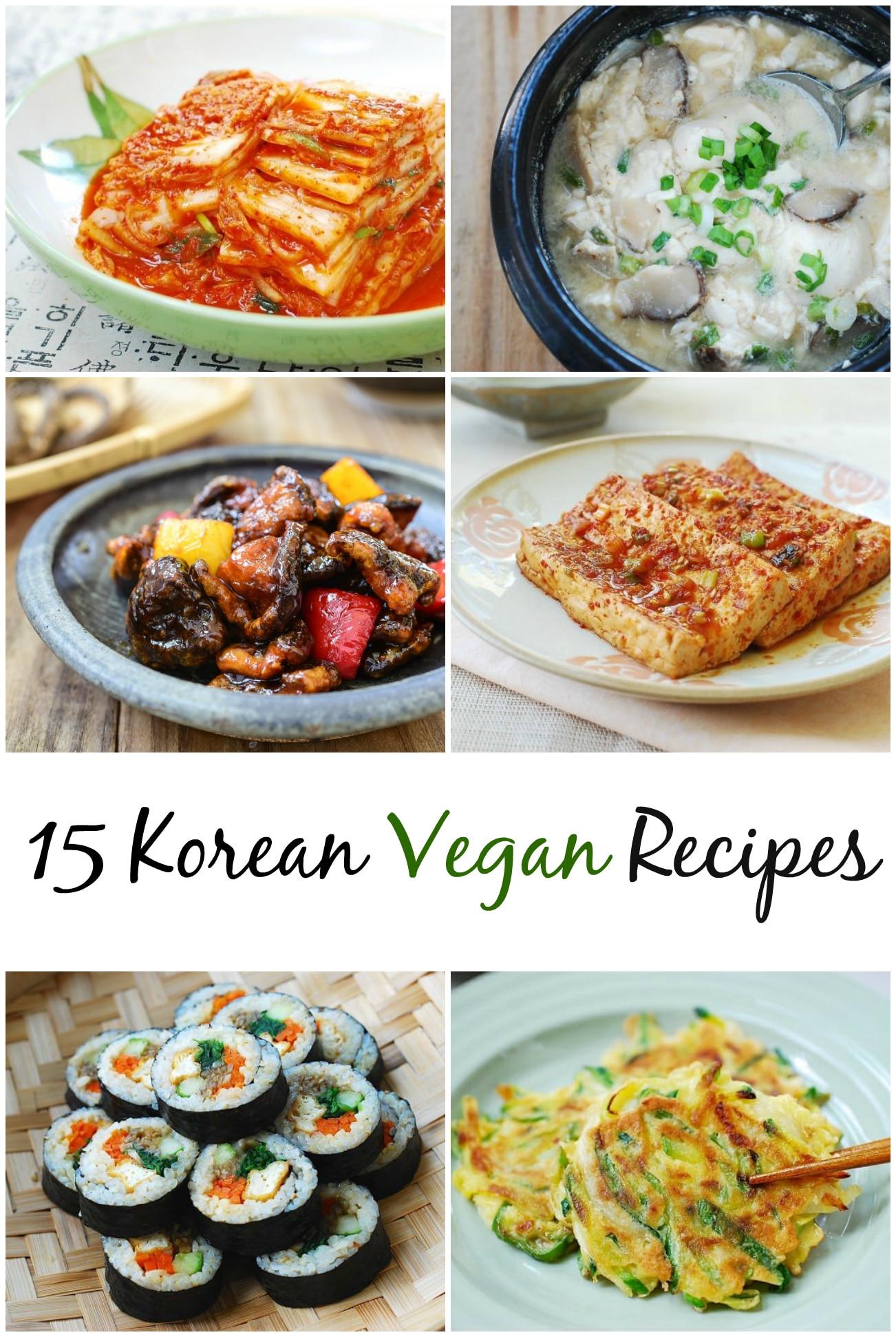 6-photo collage titled 15 Korean vegan recipes