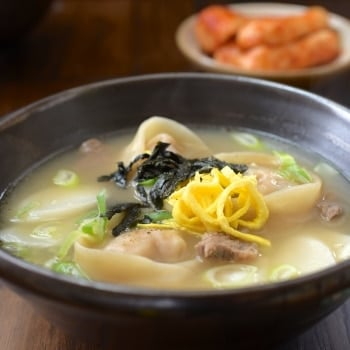 DSC 1564 350x350 - Tteok Mandu Guk (Rice Cake Soup with Dumplings)
