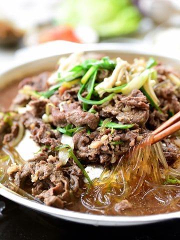Bulgogi Korean BBQ Beef served in a big bowl